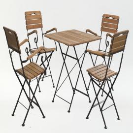 Стол квадратный + 4 стула с подлокотниками